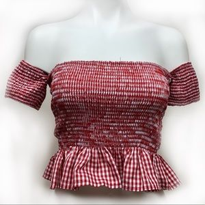 Forever 21 Red Gingham Crop Top Size Medium
